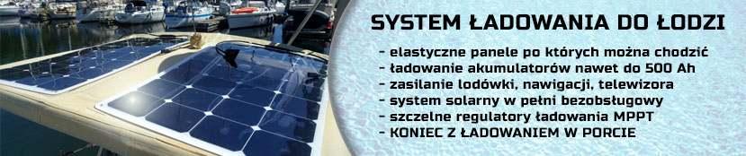 System solarny do ładowania akumulatorów na łodzi
